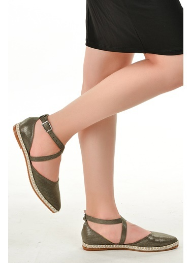 Ayakland Ayakland 177-35 Simli Günlük Anatomik Bayan Babet Ayakkabı Gri